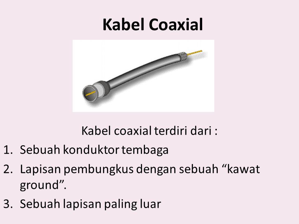 """Kabel Coaxial Kabel coaxial terdiri dari : 1.Sebuah konduktor tembaga 2.Lapisan pembungkus dengan sebuah """"kawat ground"""". 3.Sebuah lapisan paling luar"""