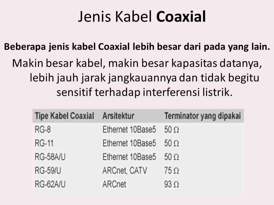 Jenis Kabel Coaxial Beberapa jenis kabel Coaxial lebih besar dari pada yang lain. Makin besar kabel, makin besar kapasitas datanya, lebih jauh jarak j