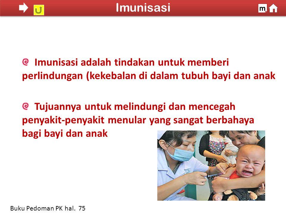 Imunisasi adalah tindakan untuk memberi perlindungan (kekebalan di dalam tubuh bayi dan anak Tujuannya untuk melindungi dan mencegah penyakit-penyakit menular yang sangat berbahaya bagi bayi dan anak 100% SDKI 2012 Imunisasi m Buku Pedoman PK hal.