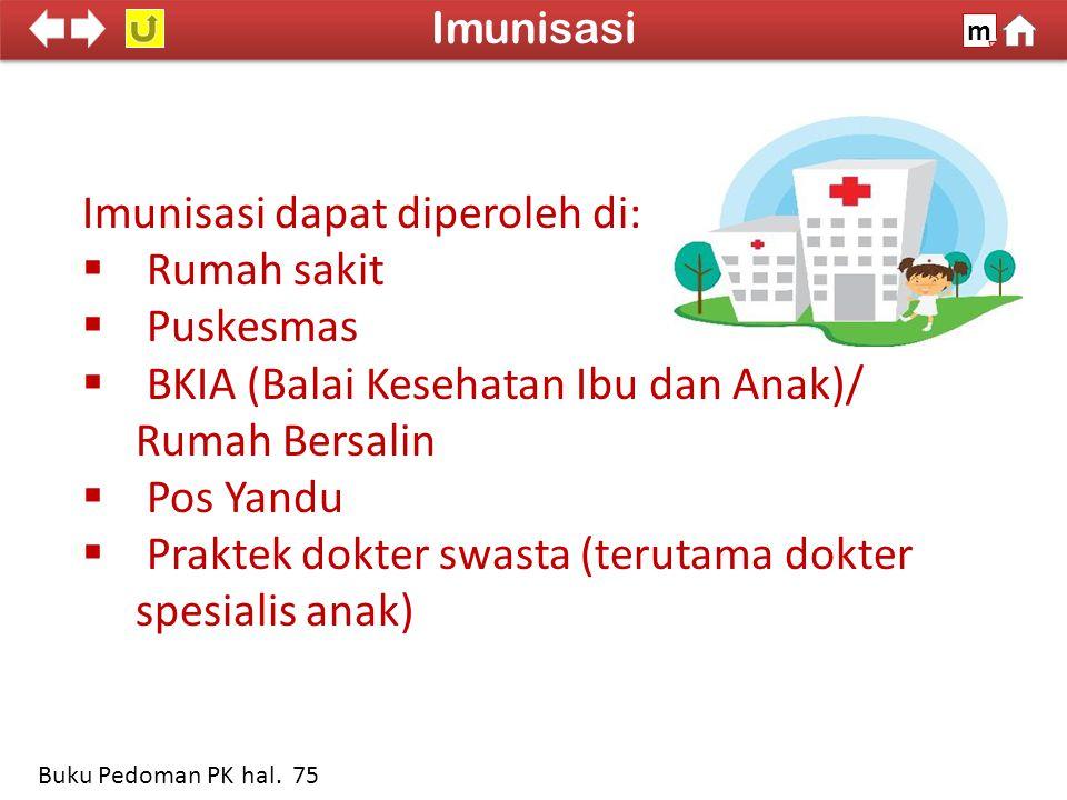 Imunisasi dapat diperoleh di:  Rumah sakit  Puskesmas  BKIA (Balai Kesehatan Ibu dan Anak)/ Rumah Bersalin  Pos Yandu  Praktek dokter swasta (terutama dokter spesialis anak) 100% SDKI 2012 Imunisasi m Buku Pedoman PK hal.