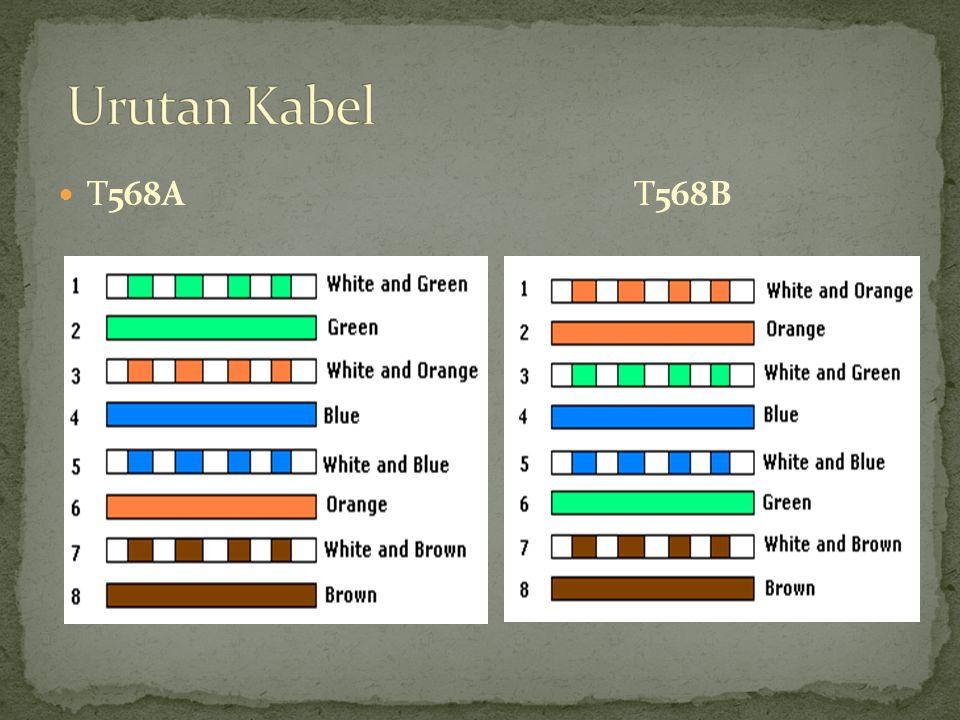 Kedua ujung kabeL menggunakan urutan warna yang sama Digunakan untuk menghubungkan 2 komponen yang berbeda Digunakan untuk menghubungkan: PC- Switch, PCHub, Router-Switch