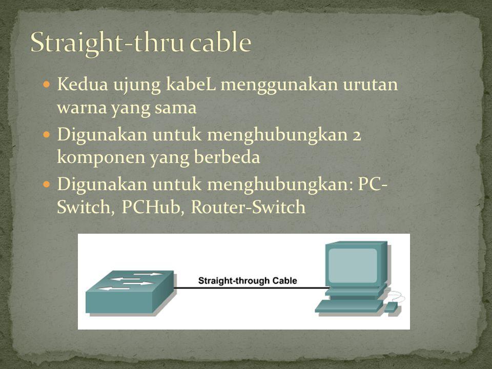 Kedua ujung kabeL menggunakan urutan warna yang sama Digunakan untuk menghubungkan 2 komponen yang berbeda Digunakan untuk menghubungkan: PC- Switch,