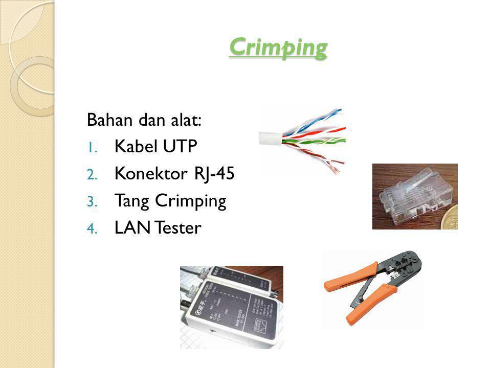 Teknik Crimping Kabel LAN Straight & Cross dengan RJ 45 Teknik Crimping Kabel LAN Straight & Cross dengan RJ 45 1.