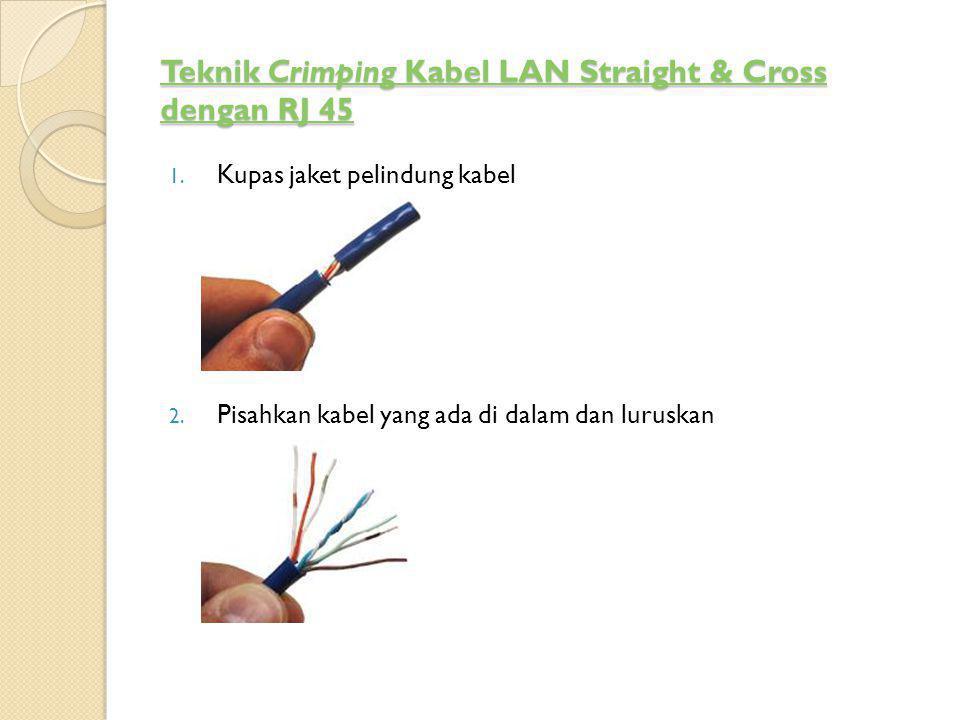 Teknik Crimping Kabel LAN Straight & Cross dengan RJ 45 Teknik Crimping Kabel LAN Straight & Cross dengan RJ 45 1. Kupas jaket pelindung kabel 2. Pisa