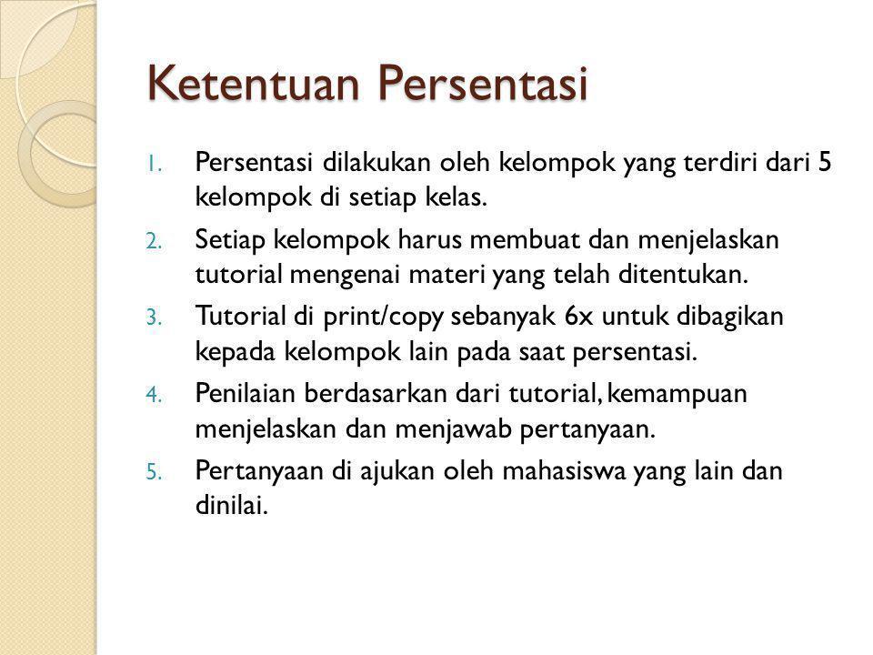 Ketentuan Persentasi 1. Persentasi dilakukan oleh kelompok yang terdiri dari 5 kelompok di setiap kelas. 2. Setiap kelompok harus membuat dan menjelas