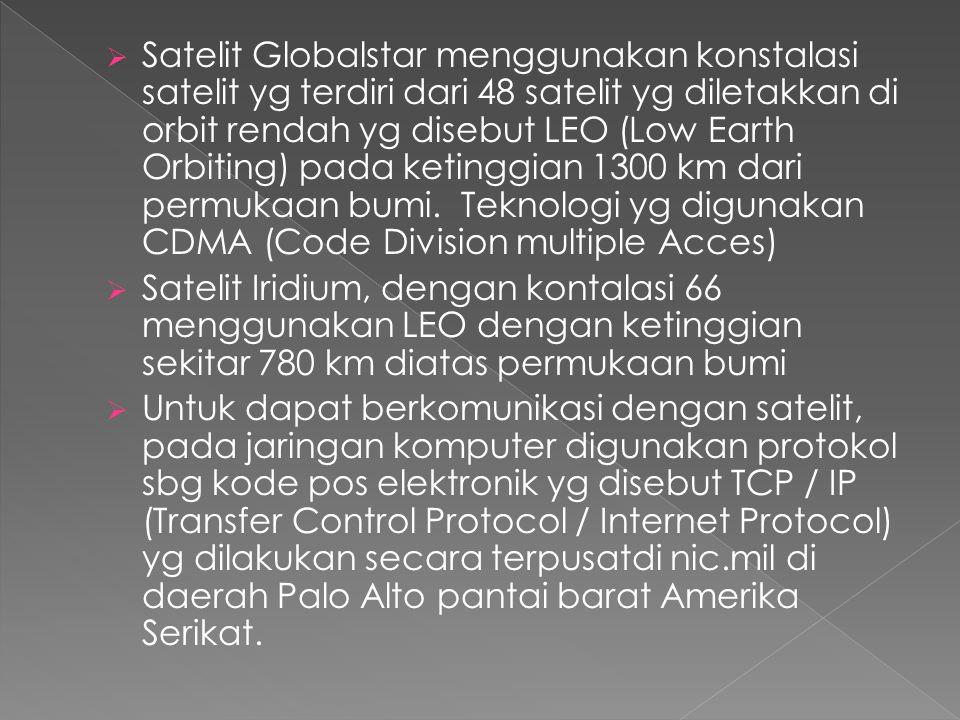  Satelit Globalstar menggunakan konstalasi satelit yg terdiri dari 48 satelit yg diletakkan di orbit rendah yg disebut LEO (Low Earth Orbiting) pada ketinggian 1300 km dari permukaan bumi.