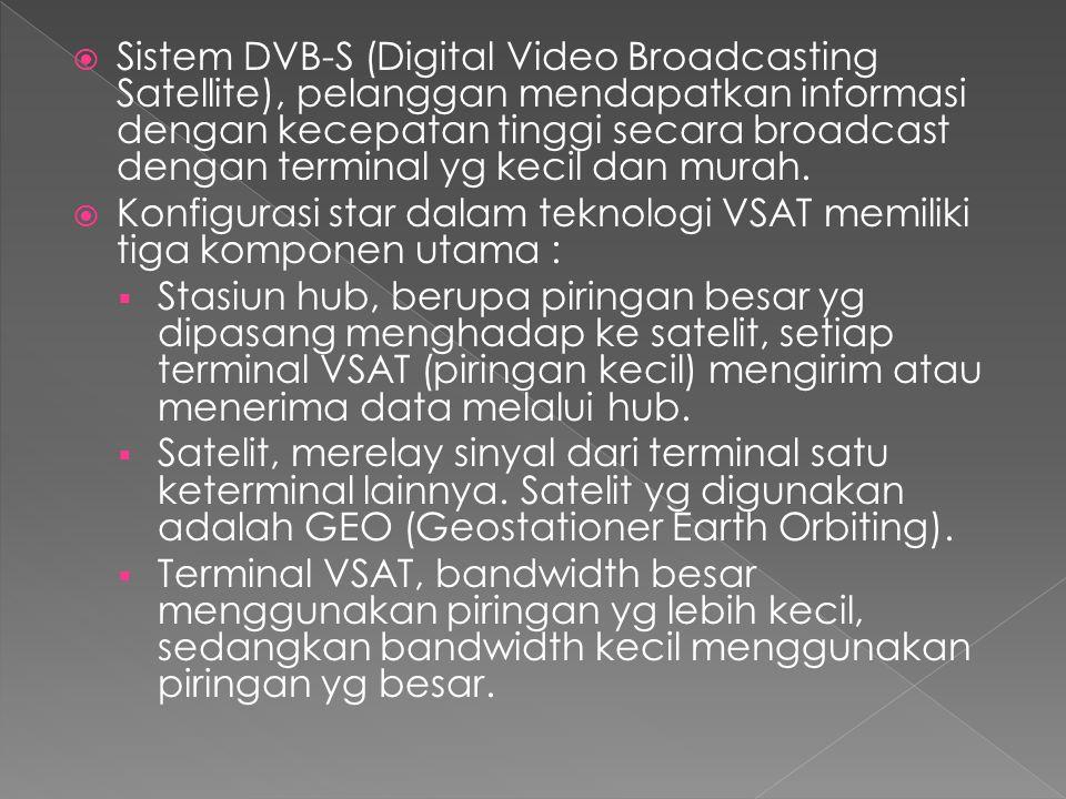  Sistem DVB-S (Digital Video Broadcasting Satellite), pelanggan mendapatkan informasi dengan kecepatan tinggi secara broadcast dengan terminal yg kecil dan murah.