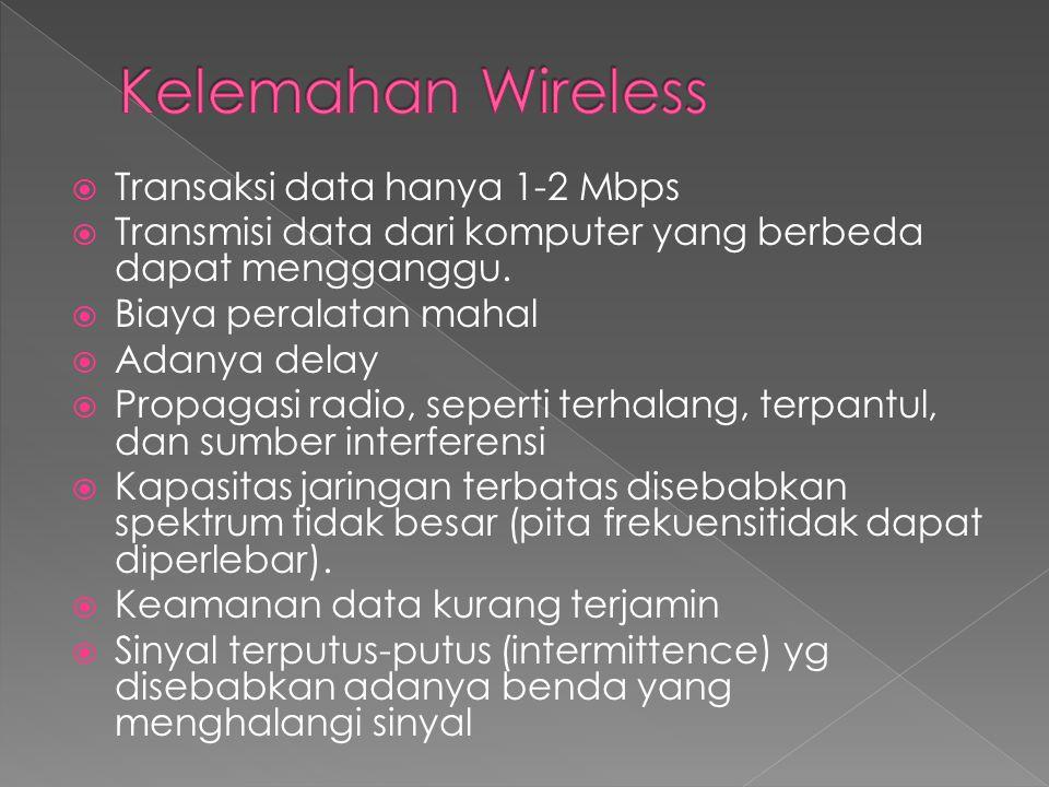  Transaksi data hanya 1-2 Mbps  Transmisi data dari komputer yang berbeda dapat mengganggu.