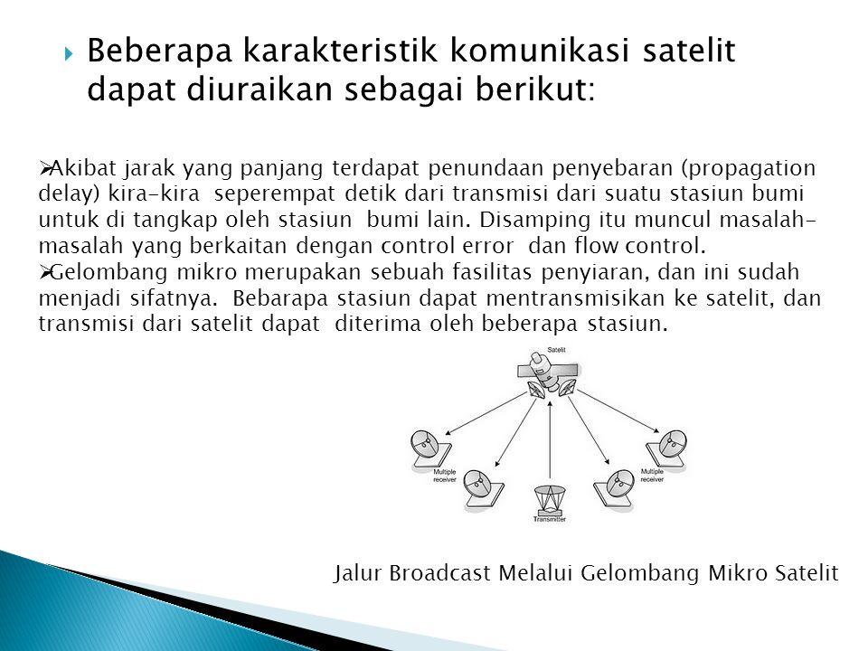  Beberapa karakteristik komunikasi satelit dapat diuraikan sebagai berikut:  Akibat jarak yang panjang terdapat penundaan penyebaran (propagation de