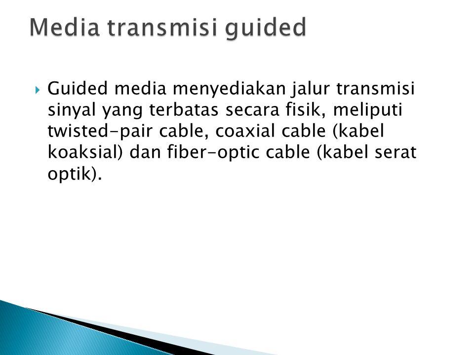  Guided media menyediakan jalur transmisi sinyal yang terbatas secara fisik, meliputi twisted-pair cable, coaxial cable (kabel koaksial) dan fiber-op