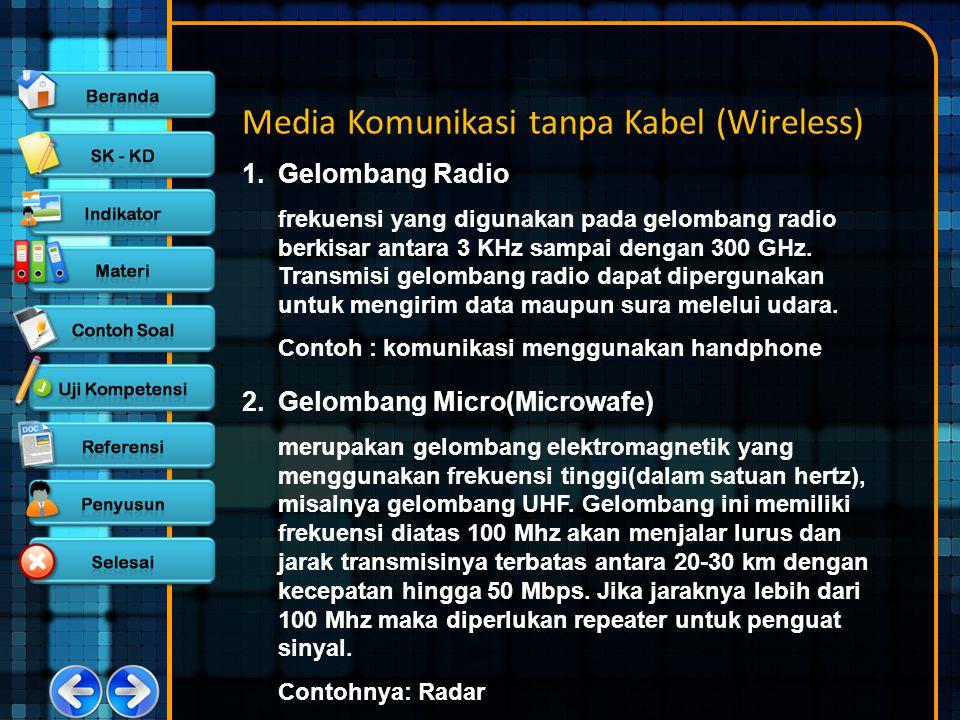 Media Komunikasi tanpa Kabel (Wireless) 1.Gelombang Radio frekuensi yang digunakan pada gelombang radio berkisar antara 3 KHz sampai dengan 300 GHz. T