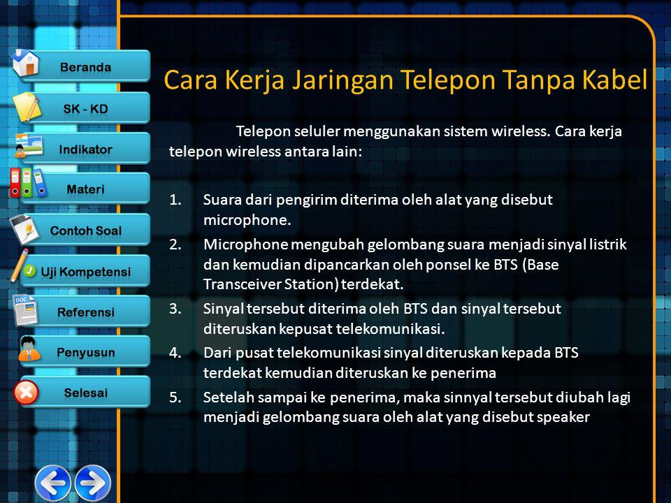 Telepon seluler menggunakan sistem wireless. Cara kerja telepon wireless antara lain: 1.Suara dari pengirim diterima oleh alat yang disebut microphone