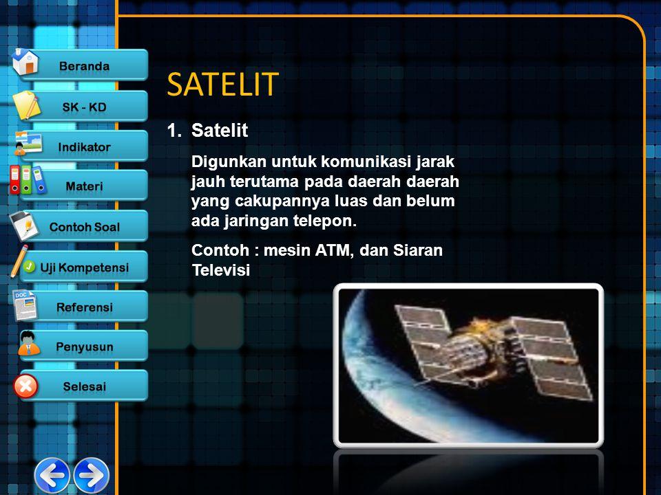 SATELIT 1.Satelit Digunkan untuk komunikasi jarak jauh terutama pada daerah daerah yang cakupannya luas dan belum ada jaringan telepon. Contoh : mesin