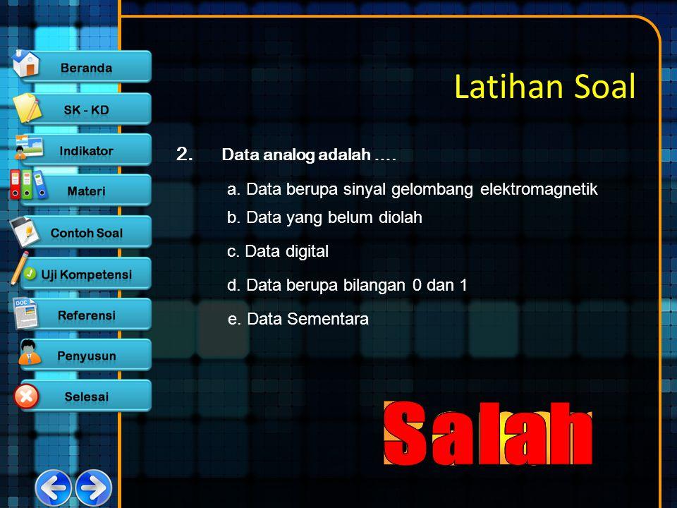 Latihan Soal 2. Data analog adalah …. a. Data berupa sinyal gelombang elektromagnetik b. Data yang belum diolah c. Data digital d. Data berupa bilanga