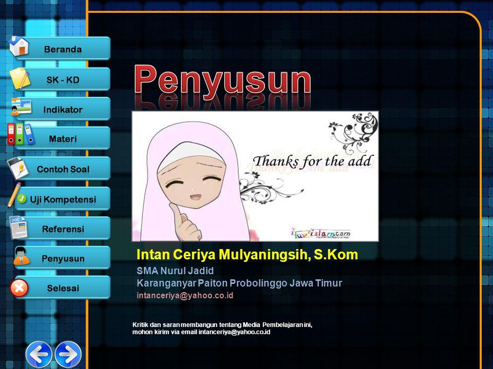 Intan Ceriya Mulyaningsih, S.Kom SMA Nurul Jadid Karanganyar Paiton Probolinggo Jawa Timur intanceriya@yahoo.co.id Kritik dan saran membangun tentang