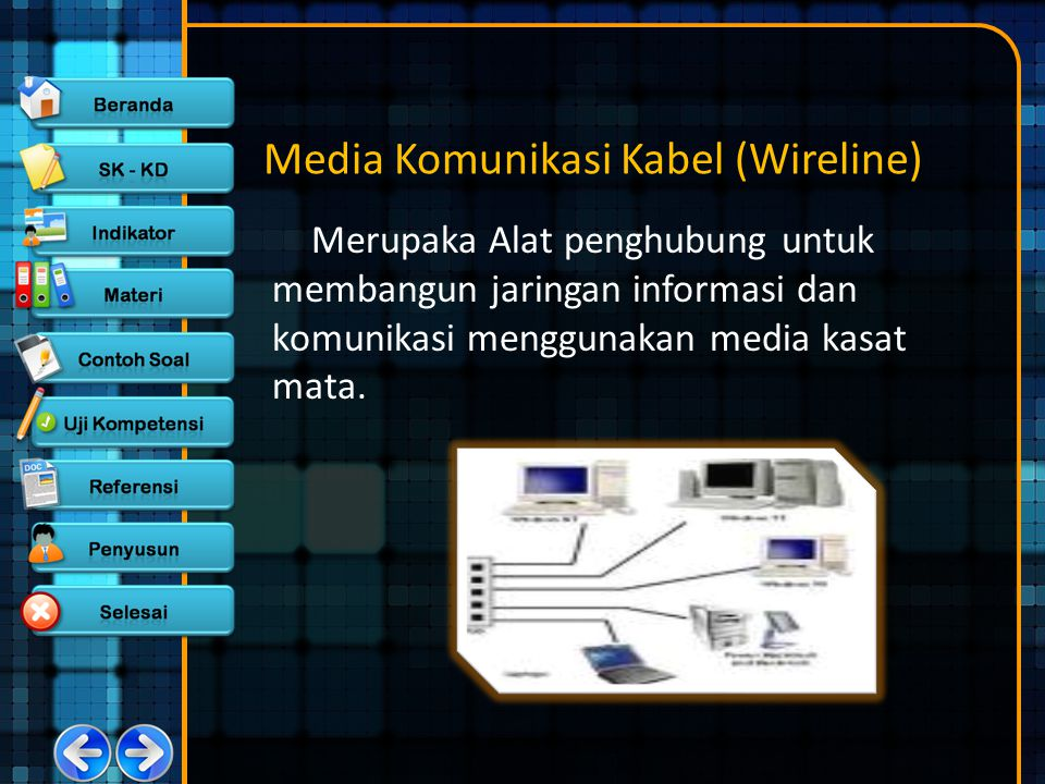 Media Komunikasi Kabel (Wireline) Merupaka Alat penghubung untuk membangun jaringan informasi dan komunikasi menggunakan media kasat mata.