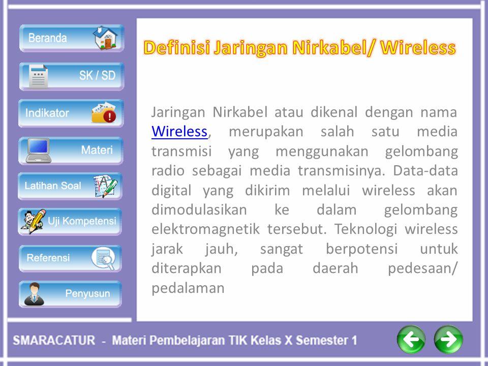 Jaringan Nirkabel atau dikenal dengan nama Wireless, merupakan salah satu media transmisi yang menggunakan gelombang radio sebagai media transmisinya.