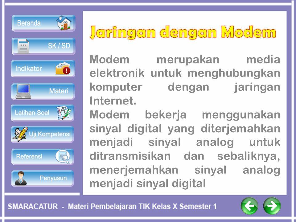 Modem merupakan media elektronik untuk menghubungkan komputer dengan jaringan Internet. Modem bekerja menggunakan sinyal digital yang diterjemahkan me