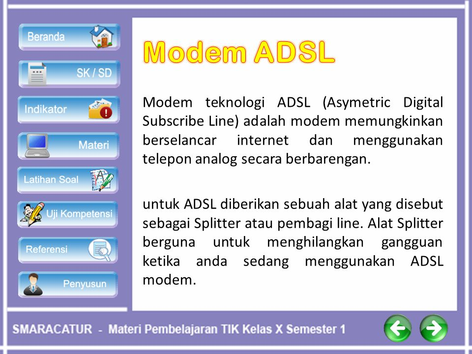 Modem teknologi ADSL (Asymetric Digital Subscribe Line) adalah modem memungkinkan berselancar internet dan menggunakan telepon analog secara berbareng