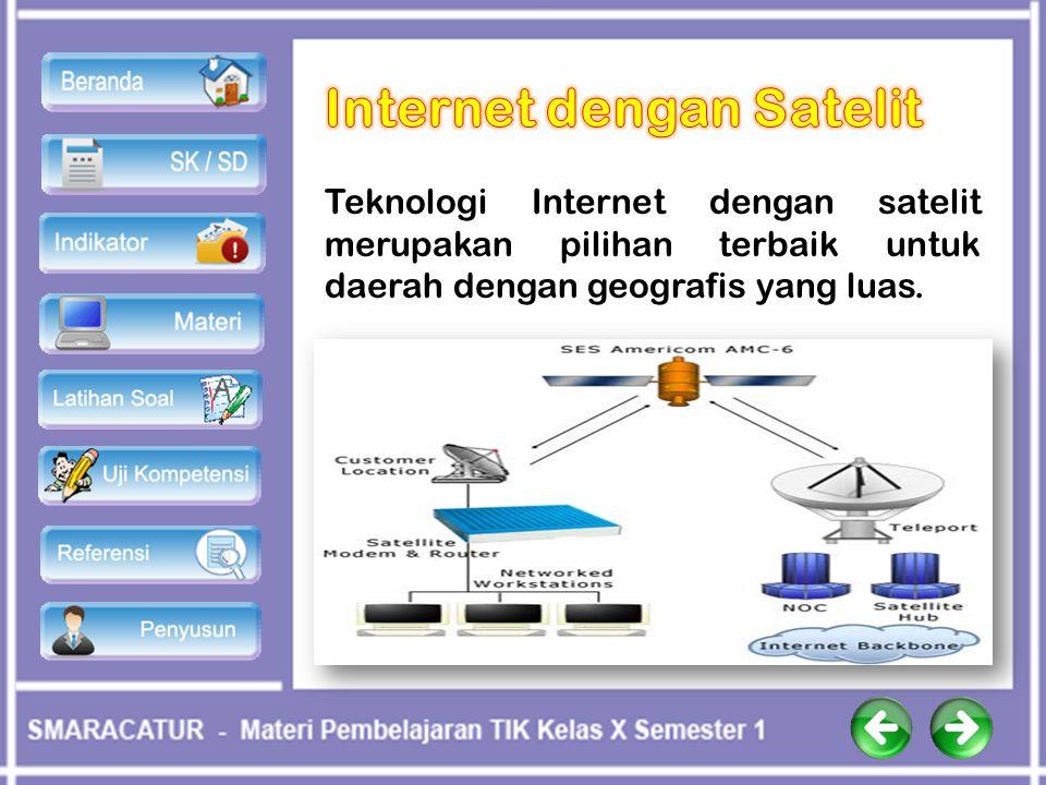 Teknologi Internet dengan satelit merupakan pilihan terbaik untuk daerah dengan geografis yang luas.