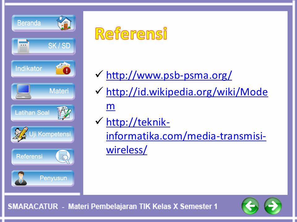 http://www.psb-psma.org/ http://id.wikipedia.org/wiki/Mode m http://id.wikipedia.org/wiki/Mode m http://teknik- informatika.com/media-transmisi- wirel