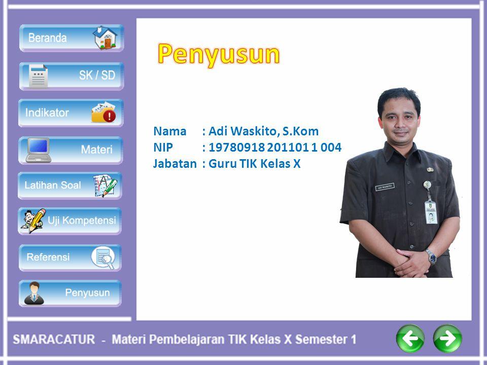 Nama : Adi Waskito, S.Kom NIP: 19780918 201101 1 004 Jabatan: Guru TIK Kelas X