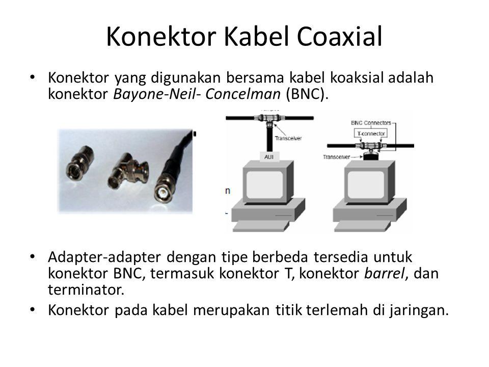 Konektor Kabel Coaxial Konektor yang digunakan bersama kabel koaksial adalah konektor Bayone-Neil- Concelman (BNC). Adapter-adapter dengan tipe berbed