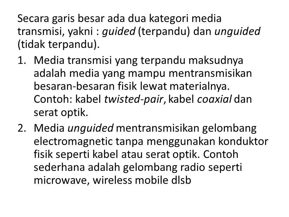 Secara garis besar ada dua kategori media transmisi, yakni : guided (terpandu) dan unguided (tidak terpandu). 1.Media transmisi yang terpandu maksudny