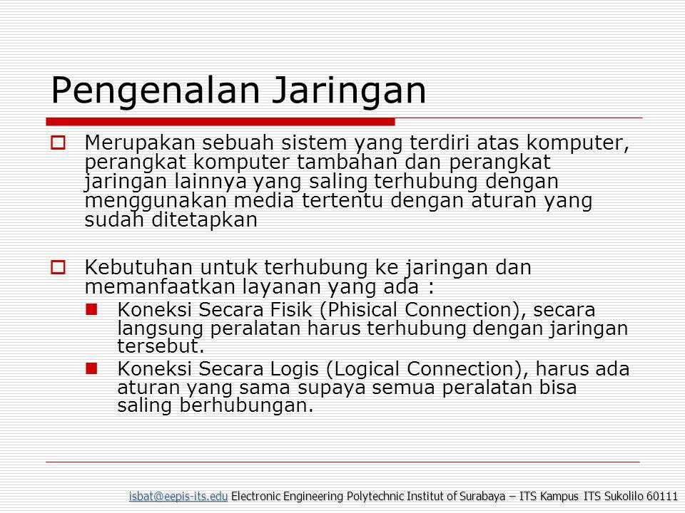 isbat@eepis-its.eduisbat@eepis-its.edu Electronic Engineering Polytechnic Institut of Surabaya – ITS Kampus ITS Sukolilo 60111 isbat@eepis-its.edu Kabel UTP (Unshield Twisted Pair)  Mempunyai delapan pin (4 pasang).
