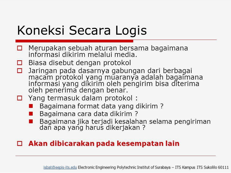 isbat@eepis-its.eduisbat@eepis-its.edu Electronic Engineering Polytechnic Institut of Surabaya – ITS Kampus ITS Sukolilo 60111 isbat@eepis-its.edu Masukkan ke dalam Konektor RJ45