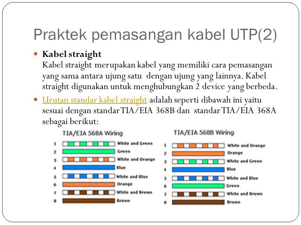 Praktek pemasangan kabel UTP(2) Kabel straight Kabel straight merupakan kabel yang memiliki cara pemasangan yang sama antara ujung satu dengan ujung yang lainnya.
