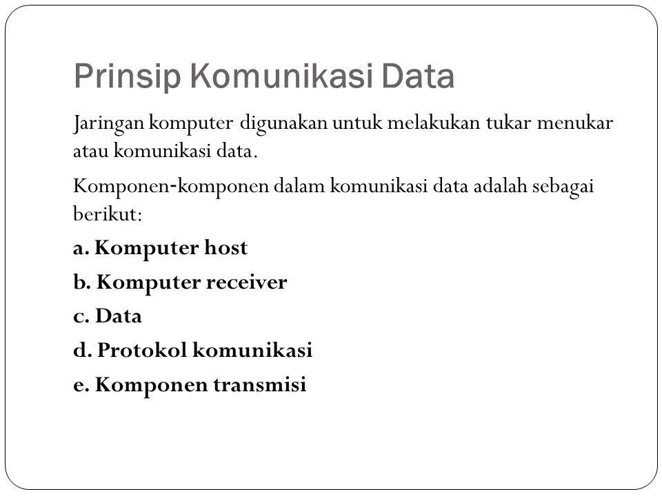 Prinsip Komunikasi Data Jaringan komputer digunakan untuk melakukan tukar menukar atau komunikasi data.