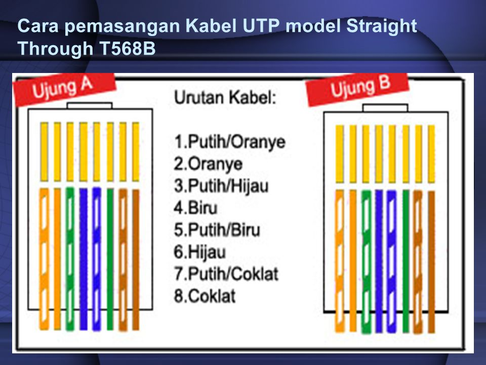 Cara pemasangan Kabel UTP model Straight Through T568B