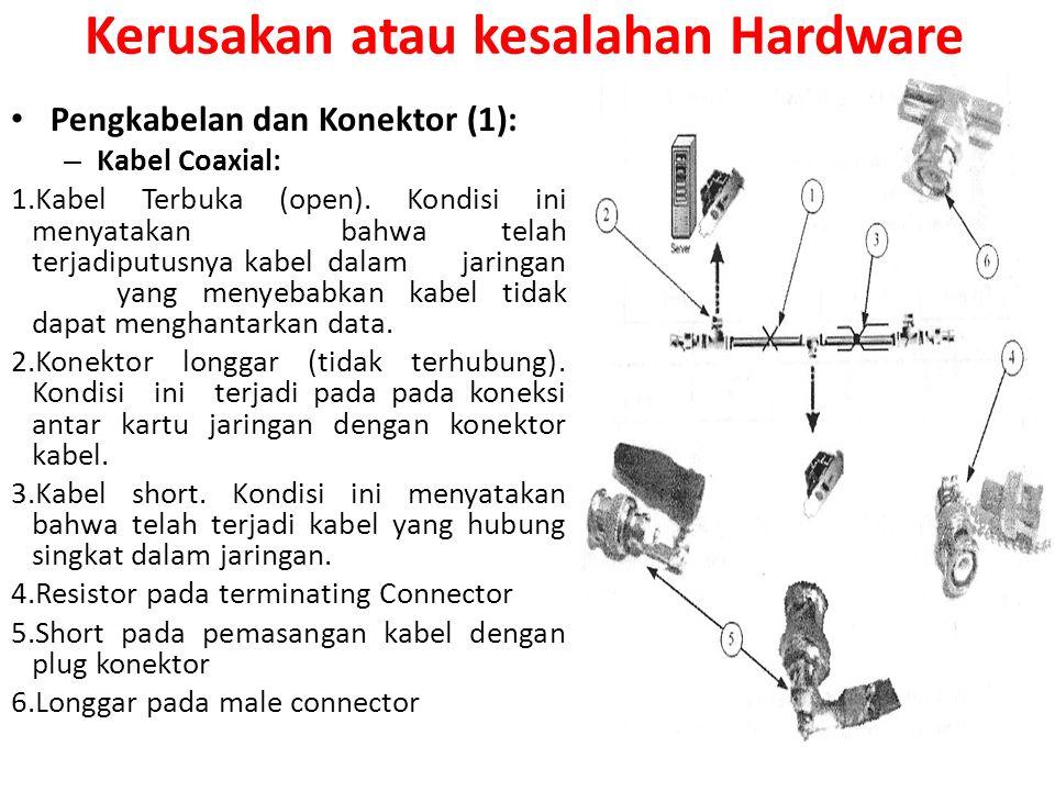 Pengkabelan dan Konektor (1): – Kabel Coaxial: 1.Kabel Terbuka (open). Kondisi ini menyatakan bahwa telah terjadiputusnya kabeldalam jaringan yang men