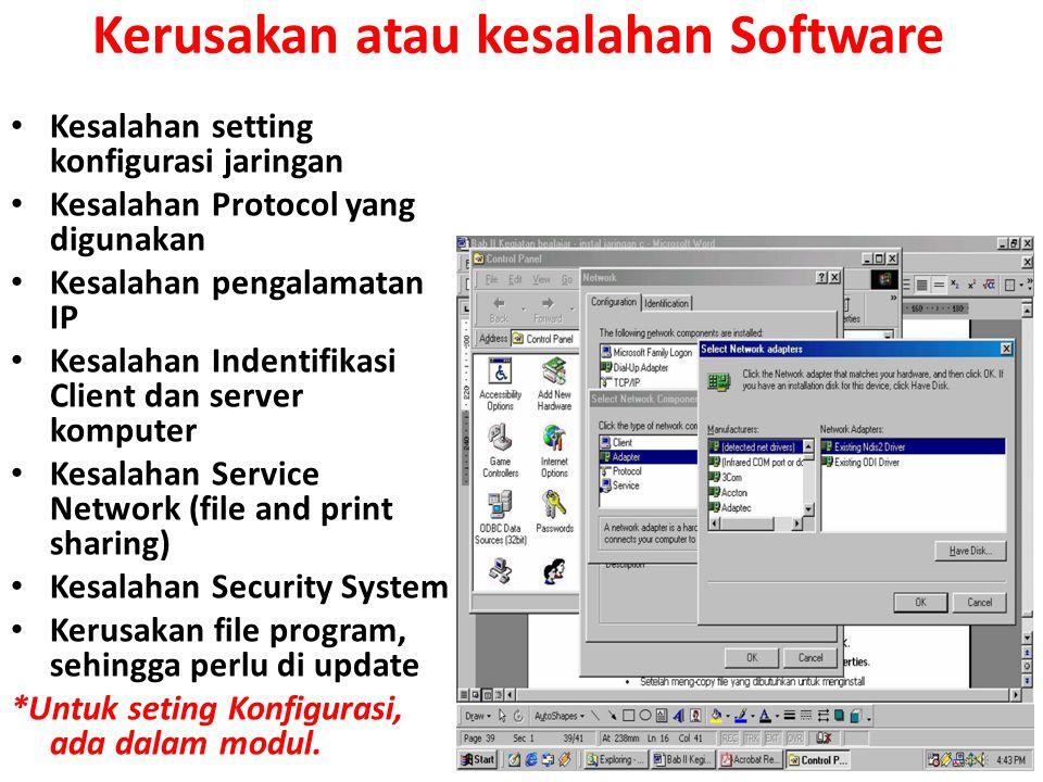 Kesalahan setting konfigurasi jaringan Kesalahan Protocol yang digunakan Kesalahan pengalamatan IP Kesalahan Indentifikasi Client dan server komputer