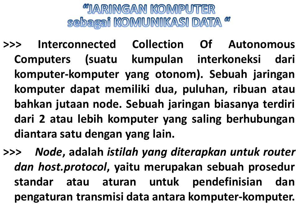 >>> Interconnected Collection Of Autonomous Computers (suatu kumpulan interkoneksi dari komputer-komputer yang otonom). Sebuah jaringan komputer dapat