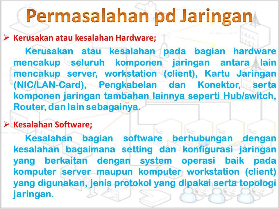  Kerusakan atau kesalahan Hardware; Kerusakan atau kesalahan pada bagian hardware mencakup seluruh komponen jaringan antara lain mencakup server, wor
