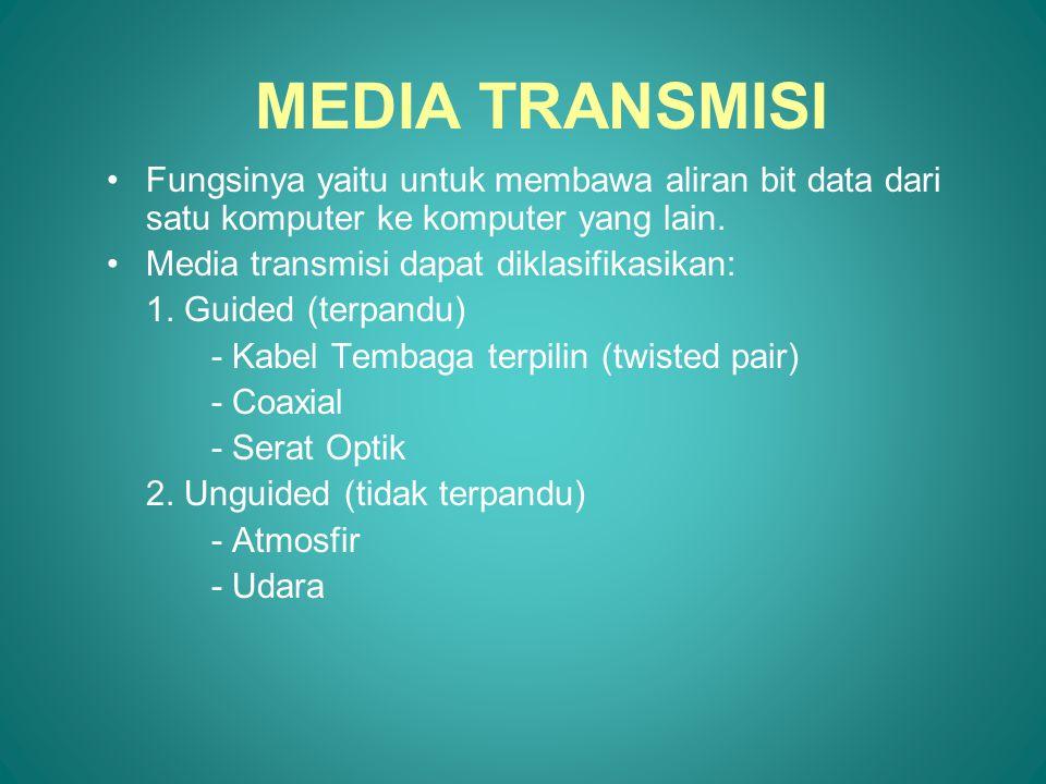 MEDIA TRANSMISI (Lanjutan) Faktor-faktor yang berhubungan dengan media transmisi dan sinyal sebagai penentu data rate dan jarak adalah: Bandwith (Lebar Pita) Transmission Impairement (Kerusakan Transmisi) Interference (Interferensi) Receiver (Jumlah Penerima ) Jenis Media Transmisi adalah: Transmisi dengan Kabel (Wire) Transmisi tanpa kabel (wireless)