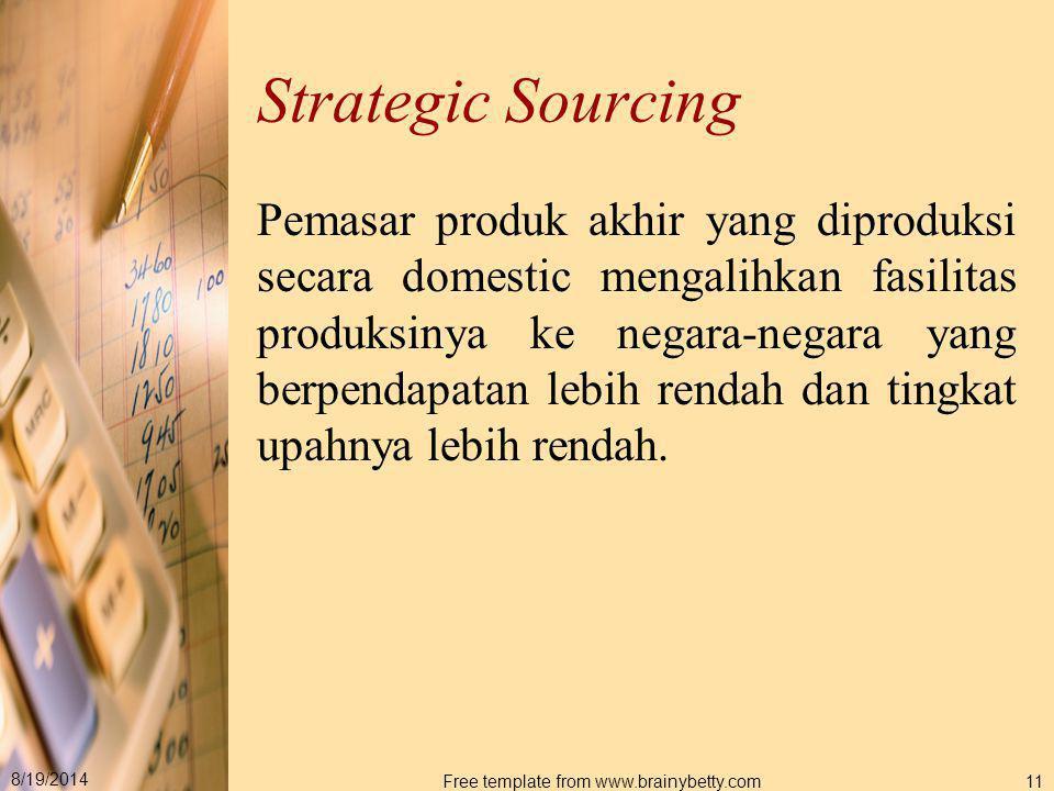 8/19/2014 Free template from www.brainybetty.com11 Strategic Sourcing Pemasar produk akhir yang diproduksi secara domestic mengalihkan fasilitas produ