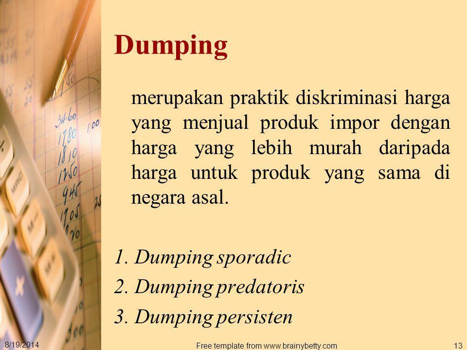 8/19/2014 Free template from www.brainybetty.com13 Dumping merupakan praktik diskriminasi harga yang menjual produk impor dengan harga yang lebih mura