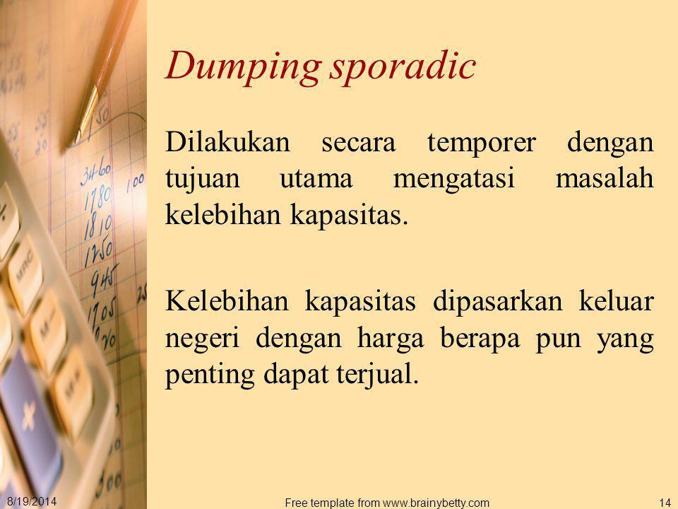 8/19/2014 Free template from www.brainybetty.com14 Dumping sporadic Dilakukan secara temporer dengan tujuan utama mengatasi masalah kelebihan kapasita