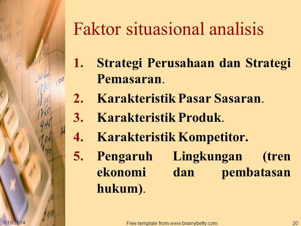 8/19/2014 Free template from www.brainybetty.com20 Faktor situasional analisis 1.Strategi Perusahaan dan Strategi Pemasaran. 2.Karakteristik Pasar Sas