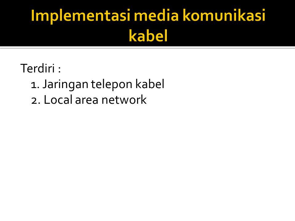 Terdiri : 1. Jaringan telepon kabel 2. Local area network