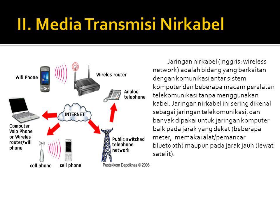 Jaringan nirkabel (Inggris: wireless network) adalah bidang yang berkaitan dengan komunikasi antar sistem komputer dan beberapa macam peralatan telekomunikasi tanpa menggunakan kabel.