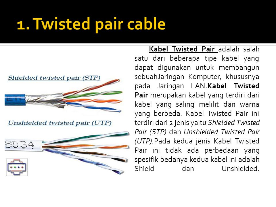 Kabel Twisted Pair adalah salah satu dari beberapa tipe kabel yang dapat digunakan untuk membangun sebuahJaringan Komputer, khususnya pada Jaringan LAN.Kabel Twisted Pair merupakan kabel yang terdiri dari kabel yang saling melilit dan warna yang berbeda.