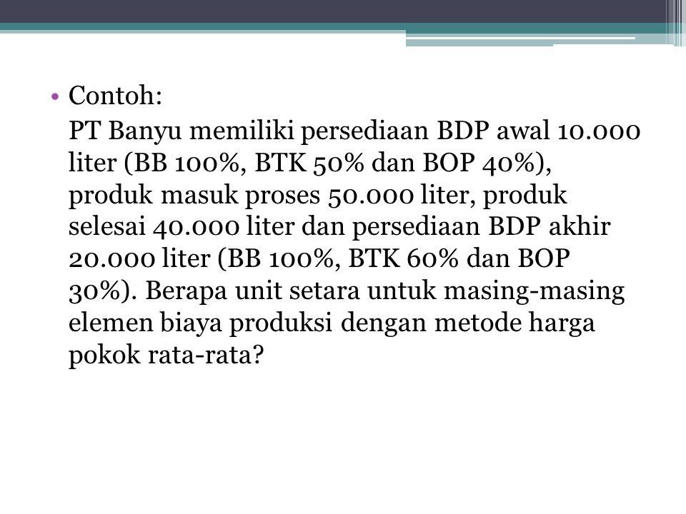 Contoh: PT Banyu memiliki persediaan BDP awal 10.000 liter (BB 100%, BTK 50% dan BOP 40%), produk masuk proses 50.000 liter, produk selesai 40.000 liter dan persediaan BDP akhir 20.000 liter (BB 100%, BTK 60% dan BOP 30%).