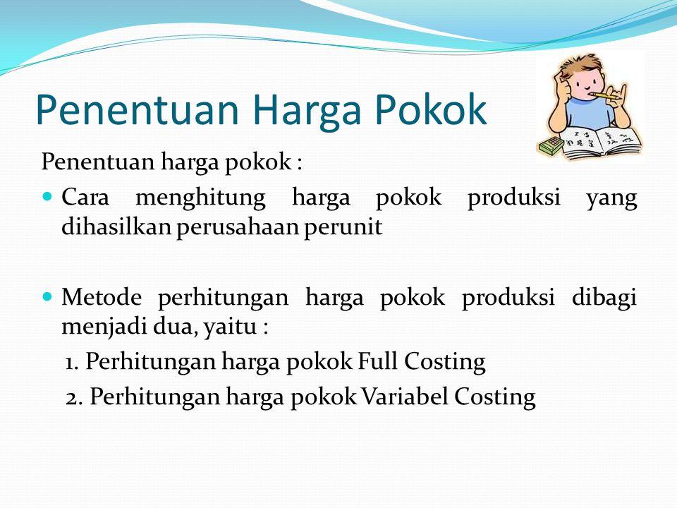 Penentuan Harga Pokok Penentuan harga pokok : Cara menghitung harga pokok produksi yang dihasilkan perusahaan perunit Metode perhitungan harga pokok produksi dibagi menjadi dua, yaitu : 1.