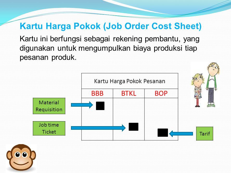 Kartu Harga Pokok Pesanan BBBBTKLBOP Material Requisition Job time Ticket Tarif Kartu Harga Pokok (Job Order Cost Sheet) Kartu ini berfungsi sebagai rekening pembantu, yang digunakan untuk mengumpulkan biaya produksi tiap pesanan produk.