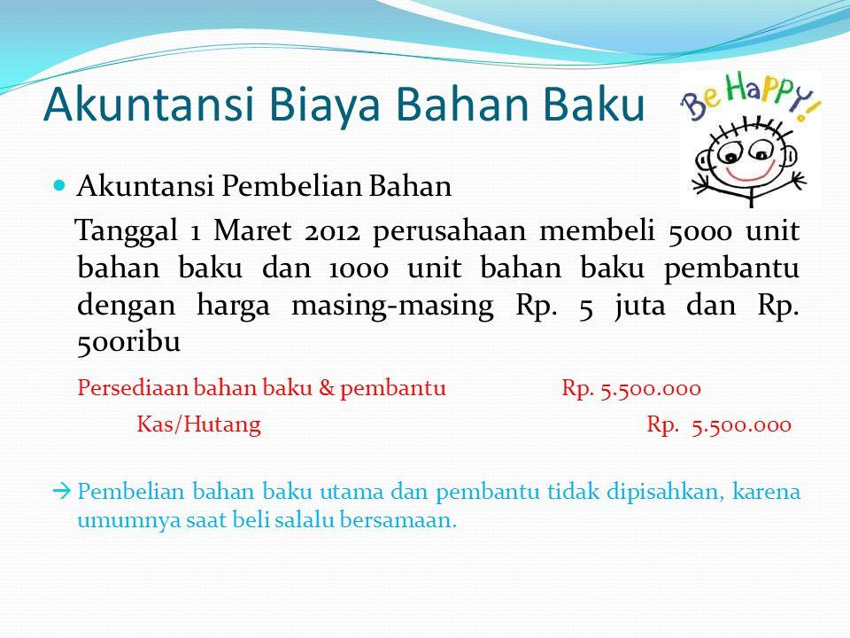 Akuntansi Biaya Bahan Baku Akuntansi Pembelian Bahan Tanggal 1 Maret 2012 perusahaan membeli 5000 unit bahan baku dan 1000 unit bahan baku pembantu dengan harga masing-masing Rp.