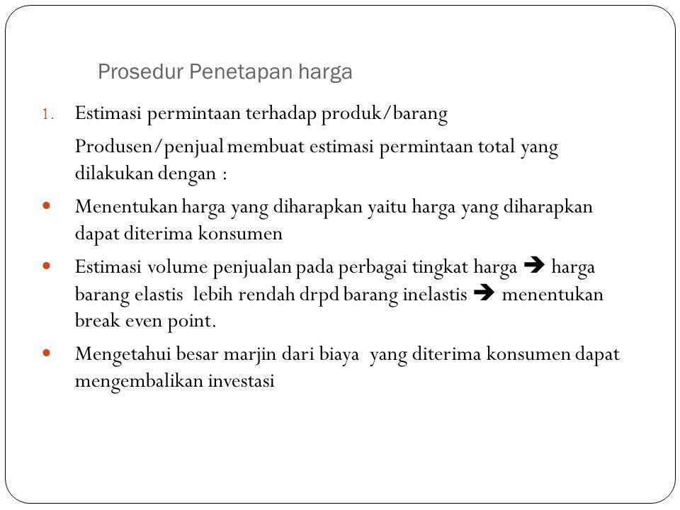 Prosedur Penetapan harga 1. Estimasi permintaan terhadap produk/barang Produsen/penjual membuat estimasi permintaan total yang dilakukan dengan : Mene